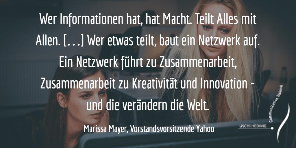 Zitat Networking, Innovation, Kreativität von Mayer, Vorstandsvorsitzende Yahoo